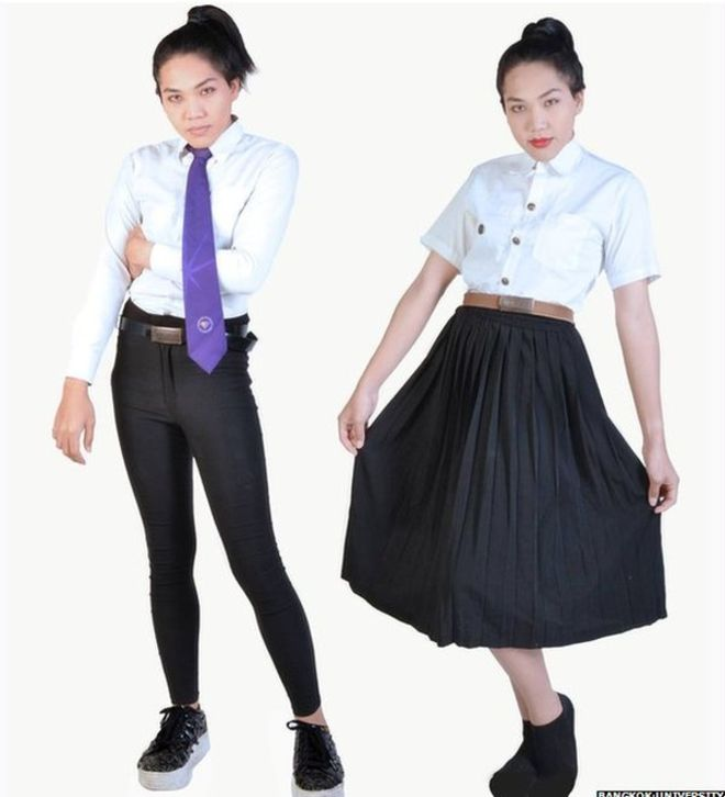 "The uniforms Bangkok University said it had approved for ""ladyboys"" - the trousers are slimmer than male students'"